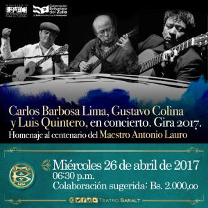 Colina, Barbosa Lima y Quintero: virtuosos de las cuerdas en el Teatro Baralt