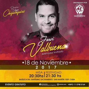 El animador venezolano Jorvi Valbuena presente en la celebración de la Chinita en Argentina