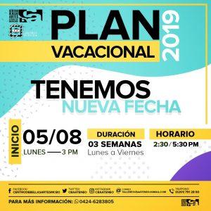 Nueva fecha del Plan Vacacional Centro de Bellas Artes 2019