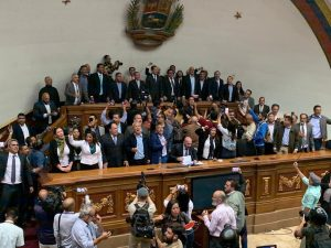 Juan Guaidó jura como presidente del Parlamento en el Palacio Legislativo