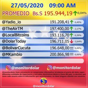 Venezuela: Precio del dólar hoy, miércoles 27 de mayo de 2020