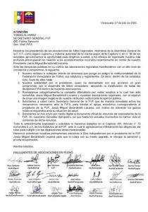 Presidentes de las asociaciones regionales de fútbol solicitan a la FIFA que apoye a Berardinelli