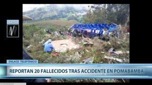 Al menos 20 muertos deja volcamiento de autobús en Perú