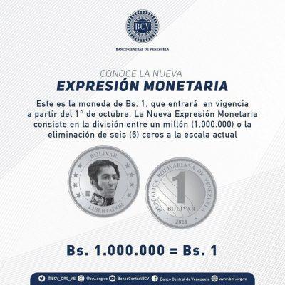 Venezuela anuncia una nueva reconversión que eliminará seis ceros a la moneda